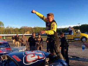 Andrew Molleur celebrates his first SK Light Modified victory Saturday at the New London-Waterford Speedbowl