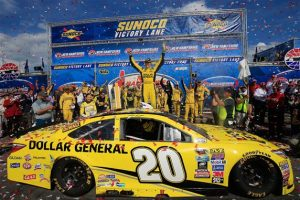 Matt Kenseth celebrates after winning the Sprint Cup Series New Hampshire 301 at New Hampshire Motor Speedway Sunday (Photo: Chris Trotman/Getty Images)
