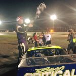 Diego Monahan celebrates victory Saturday at the New London-Waterford Speedbowl (Photo: New London-Waterford Speedbowl)