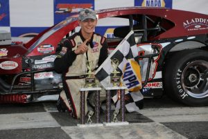Marcello Rufrano celebrates his first SK Light Modified division in his debut in the division Friday at Stafford Motor Speedway (Photo: Jim DuPont)