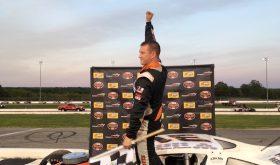 Ryan Preece celebrates victory Wednesday at Thompson Speedway