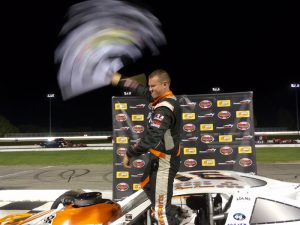 Ryan Preece celebrates his second SK Modified victory of the night Wednesday at Thompson.