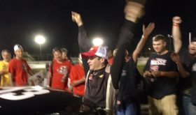 Steve Masse celebrates victory Thursday at the New London-Waterford Speedbowl