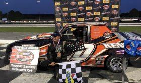 Wayne Burroughs Jr. celebrates victory Wednesday at Thompson Speedway (Photo: Thompson Speedway)