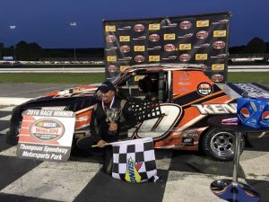 Wayne Burroughs Jr. celebrates victory Wednesday at Thompson Speedway (Photo: Thompson Speedway)