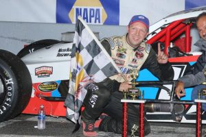Glen Reen celebrates his first SK Modified victory Friday at Stafford Motor Speedway (Photo: Stafford Motor Speedway/Driscoll MotorSports Photography)