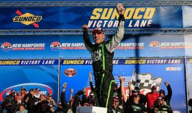 Justin Bonsignore celebrates victory in the Whelen Modified Tour F.W. Webb 100 Saturday at New Hampshire Motor Speedway (Photo: Getty Images for NASCAR)