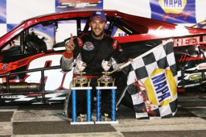 Keith Rocco celebrates victory in the SK Modified feature Friday at Stafford Motor Speedway (Photo: Stafford Motor Speedway/Driscoll MotorSports Photography)