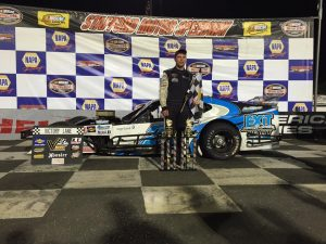 Jon McKennedy celebrates victory Friday in the Valenti Modified Racing Series event at Stafford Motor Speedway (Photo: Stafford Speedway/Driscoll MotorSports Photography)