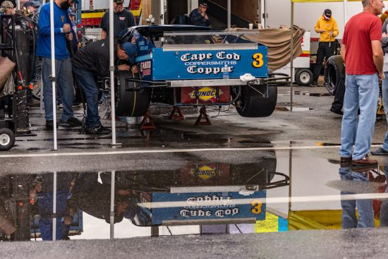 Waiting out the rain for the Whelen Modified Tour at New Hampshire Motor Speedway (Photo: Brenda Meserve)