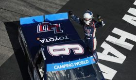 William Byron celebrates victory in the Camping World Truck Series UNOH 175 at New Hampshire Motor Speedway Saturday (Photo: Rainier Ehrhardt/Getty Images for NASCAR)