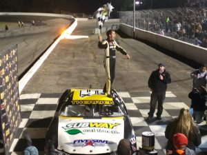 Bobby Therrien celebrates victory in the American Canadian Tour feature at the Sunoco World Series at Thompson Speedway Saturday