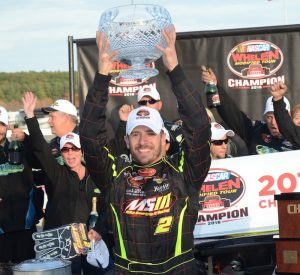 Doug Coby celebrates his 2016 NASCAR Whelen Modified Tour championship to cap off Sunoco World Series weekend Sunday at Thompson Speedway (Photo: Fran Lawlor for NASCAR)