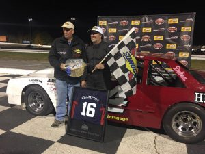 Joe Arena (right) celebrates victory and the North East Street Stock Tour championship Saturday at the Sunoco World Series at Thompson Speedway (Photo: Thompson Speedway)