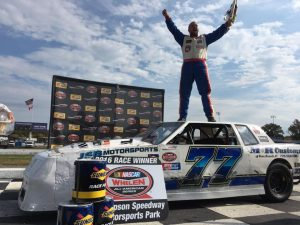 Phil Jacques celebrates victory in the Limited Sportsman feature Sunday at Thompson Speedway (Photo: Thompson Speedway)