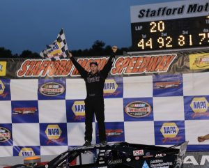 Tony Membrino Jr. celebrates victory and the SK Light Modified championship Saturday at Stafford Motor Speedway (Photo: Jim DuPont)