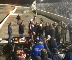 Woody Pitkat celebrates victory in the Valenti Modified Racing Series Saturday at the Sunoco World Series at Thompson Speedway