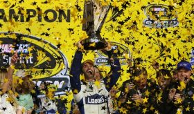 Jimmie Johnson celebrates his seventh NASCAR Sprint Cup Championship the Ford EcoBoost 400 at Homestead-Miami Speedway Sunday (Photo: Sean Gardner/NASCAR via Getty Images)