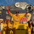 Joey Logano celebrates following victory in the Sprint Cup Series Can-Am 500 at Phoenix International Raceway Sunday (Photo: Robert Laberge/Getty Images for NASCAR)
