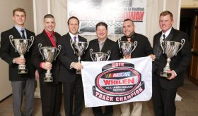 Stafford Motor Speedway's 2017 champions (l-r) Noah Korner (Legends), Duane Provost (Limited Late Model), Tony Membrino Jr. (SK Light Modified), Tom Fearn (Late Model), Johnny Walker (DARE Stock) and Rowan Pennink (SK Modified) (Photo: Stafford Speedway/Driscoll Motorsports Photography)