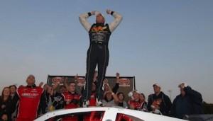 Doug Coby celebrates his 2012 Whelen Modified Tour championship (Photo: Fran Lawlor/NASCAR)