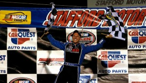 Ryan Preece celebrates after winning the Whelen Modified Tour TSI Harley-Davidson 125 at Stafford Speedway last  year (Photo: Jim Rogash/Getty Images for NASCAR)