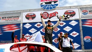 Doug Coby celebrates a Whelen Modified Tour victory in July 2013 at New Hampshire Motor Speedway (Photo: Getty Images for NASCAR)