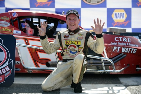 Ted Christopher celebrates his ninth SK Modified championship at Stafford Motor Speedway in 2014 (Photo: Darren McCollester/Getty Images for NASCAR)