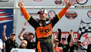 Todd Szegedy celebrates a Whelen Modified Tour victory last September at New Hampshire Motor Speedway (Photo: Getty Images for NASCAR)