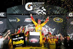 Joey Logano celebrates a Sprint Cup Series victory earlier this season at Richmond International Raceway (Photo: NASCAR)