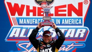 Ryan Newman celebrates victory in the Whelen All-Star Shootout Friday at New Hampshire Motor Speedway (Photo: Getty Images)