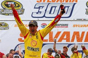 Joey Logano celebrates his second career Sprint Cup Series victory at New Hampshire Motor Speedway last September (Photo: Jonathan Ferrey/Getty Images for NASCAR)