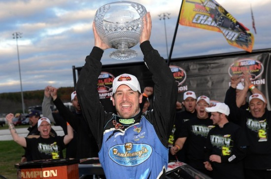 Doug Coby celebrates his second Whelen Modified Tour championship Sunday at Thompson Speedway (Photo: Getty Images for NASCAR)