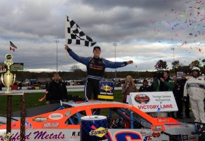 Ryan Preece celebrates victory in the Whelen Modified Tour Sunoco World Series 150 Oct. 19 at Thompson Speedway (Photo: Getty Images for NASCAR)