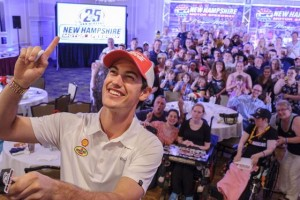 Joey Logano celebrates his 25th birthday with New Hampshire Motor Speedway Wednesday in Nashua, N.H.