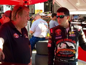 Keith Rocco (right) talks with crew chief Brad Lafontaine after Whelen Modified Tour practice in July at New Hampshire Motor Speedway