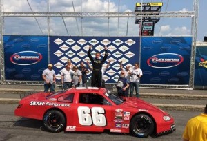 Eddie MacDonald celebrates victory in the inaugural Pro All Stars Series Event Sunday at NHMS (Photo: Courtesy New Hampshire Motor Speedway)