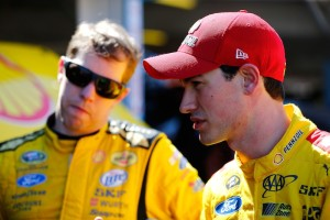 Teammates Brad Keselowski (left) and Joey Logano completed a Penske Racing season sweep of Sprint Cup Series events at New Hampshire Motor Speedway in 2014 (Photo: Jonathan Ferrey/Getty Images for NASCAR)