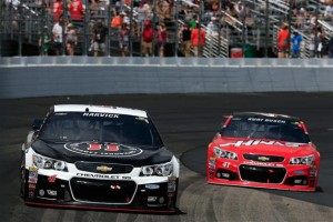 Kevin Harvick (4) leads Kurt Busch (41) during the Sprint Cup Series 5-Hour Energy 301 at New Hampshire Motor Speedway Sunday (Photo: Chris Trotman/Getty Images for NASCAR)