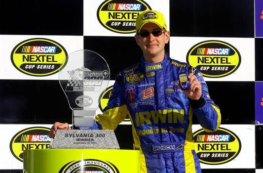 Kurt Busch capped off a season sweep at NHMS in 2004, winning the Siemens 300 in July and the Sylvania 300 in September (above), the first race in the inaugural NASCAR Chase for the Cup, which Busch would go on to win. (Photo: Courtesy of New Hampshire Motor Speedway)