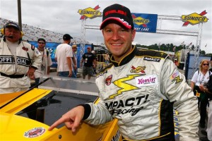 Todd Szegedy after winning Saturday's Whelen Modified Tour Andy Blacksmith 100 at New Hampshire Motor Speedway (Photo: Jonathan Ferrey/Getty Images for NASCAR)