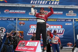 Woody Pitkat celebrates victory in the Whelen Modified Tour Whelen All-Star Shootout Friday at New Hampshire Motor Speedway (Photo: Getty Images for NASCAR)