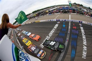 Kyle Busch (54) and Denny Hamlin (20) lead the field to green for Saturday's XFINITY Series event at New Hampshire Motor Speeway (Chris Trotman/Getty Images for NASCAR)