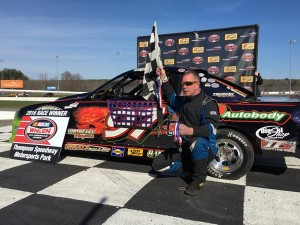 Dave Trudeau celebrates victory in the Mini Stock feature Sunday at Thompson Speedway (Photo: Thompson Speedway)