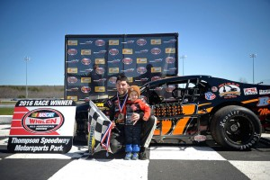 Along with his son KJ, Keith Rocco celebrates victory in Sunday's SK Modified feature at Icebreaker 2016 weekend at Thompson Speedway (Photo: Jason Cunningham/NASCAR)