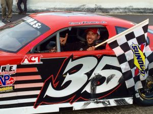 Bruce Thomas Jr. celebrates a Late Model victory at the New London-Waterford Speedbowl Saturday.
