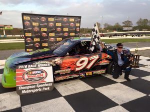 Dave Trudeau celebrate his second consecutive Mini Stock victory Wednesday at Thompson Speedway (Photo: Thompson Speedway)