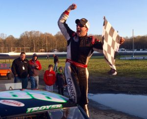 Keith Rocco celebrates victory in the SK Modified feature at the Bud Blastoff 2016 Sunday at the New London-Waterford Speedbowl