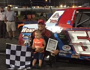 Al Stone III celebrates victory in the Limited Sportsman feature Saturday at the New London-Waterford Speedbowl (Photo: New London-Waterford Speedbowl)