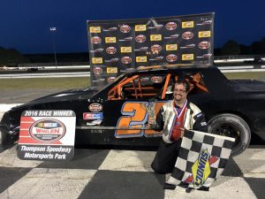 Jesse Gleason celebrates victory in the Limited Sportsman feature Wednesday at Thompson Speedway (Photo: Thompson Speedway)